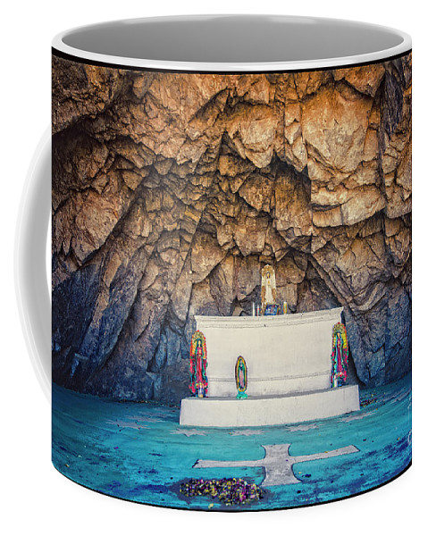 Mission Coffee Mug featuring the photograph Cave Altar Setting by Nancy Forehand