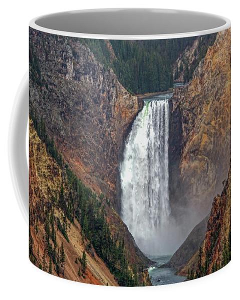 Falls Coffee Mug featuring the photograph Lower Yellowstone Falls by Lynn Sprowl
