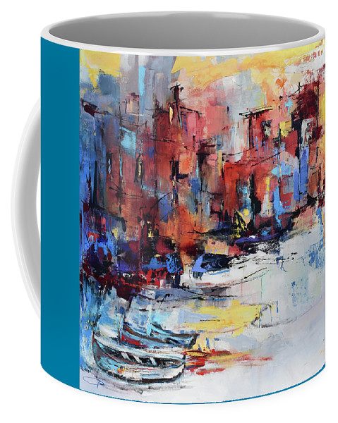 Cefalu Coffee Mug featuring the painting Cefalu Seaside by Elise Palmigiani