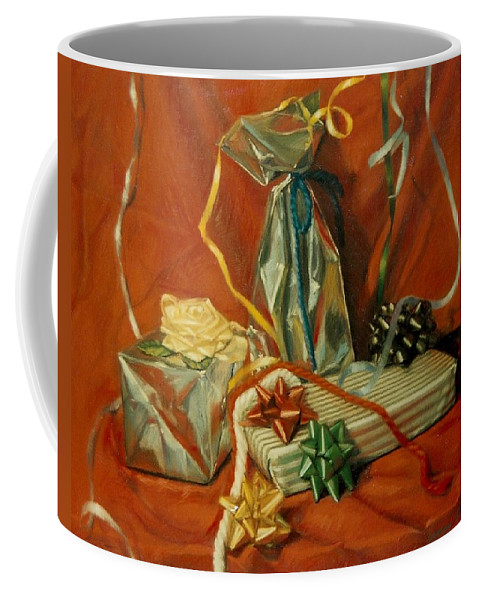 Red Coffee Mug featuring the pastel Celebration by Constance Drescher