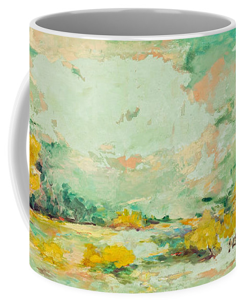 Abstract Art Coffee Mug featuring the painting Celestial Autumn by Angela Torrez