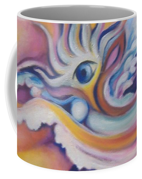 Surreal Artwork Coffee Mug featuring the painting Celestial Eye by Jordana Sands