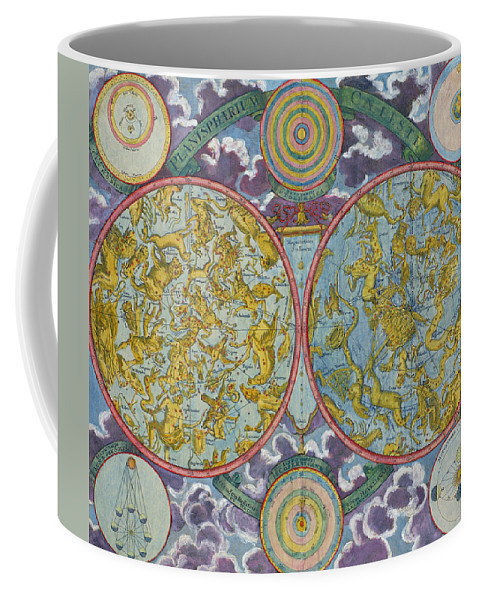 Coffee Mug featuring the drawing Celestial Map Of The Planets by Georg Christoph Eimmart