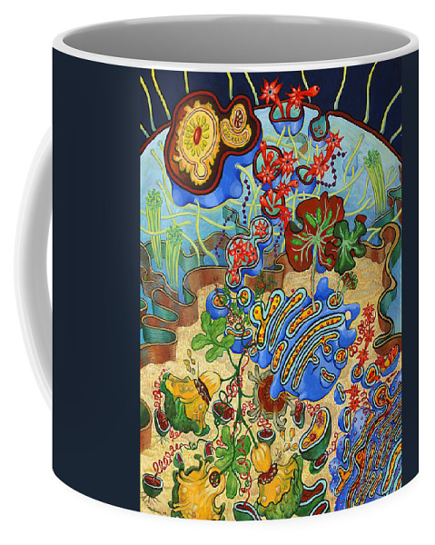 Cell Coffee Mug featuring the painting Cell Garden by Shoshanah Dubiner