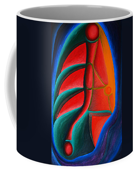 Abstract Coffee Mug featuring the painting Cell Structure I by Michael C Crane
