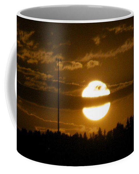 Coffee Mug featuring the photograph Cell Tower Moon by Michael Shaft