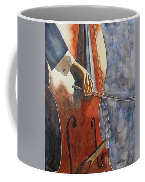 Music Coffee Mug featuring the painting Cello by Guri Stark
