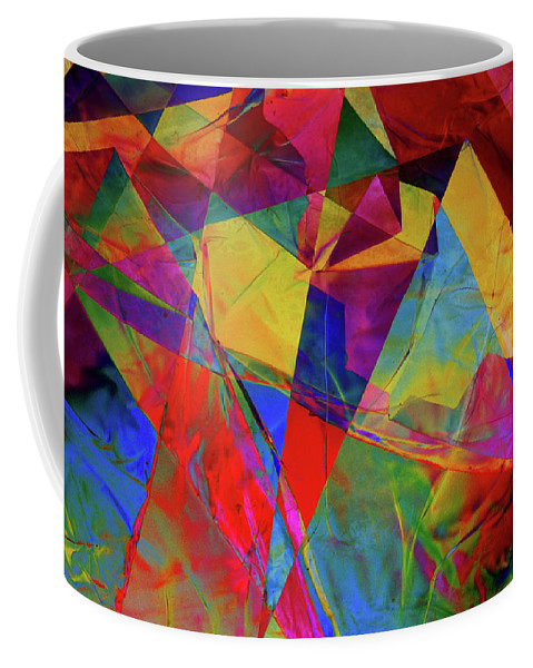 Cellophane Coffee Mug featuring the photograph Cellophane Geometry by Carol Berget