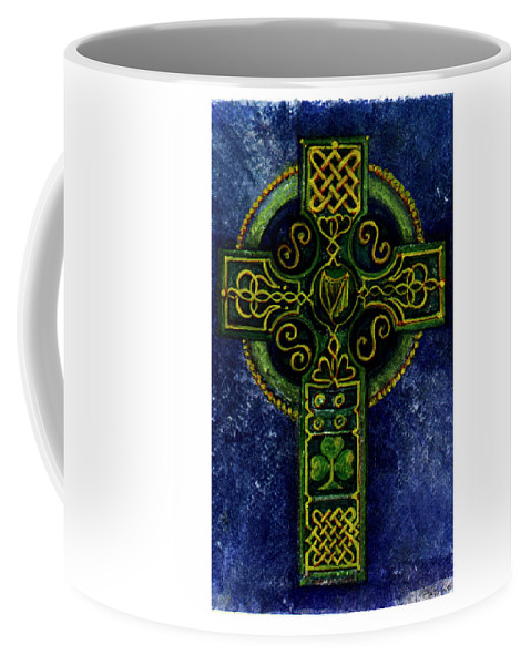 Elle Fagan Coffee Mug featuring the painting Celtic Cross - Harp by Elle Smith Fagan