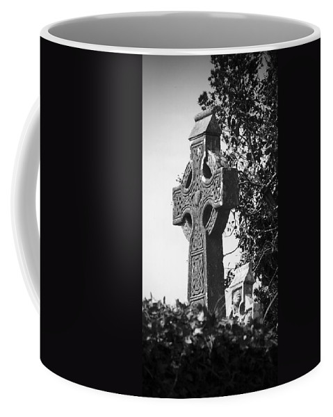 Celtic Coffee Mug featuring the photograph Celtic Cross At Fuerty Cemetery Roscommon Ireland by Teresa Mucha