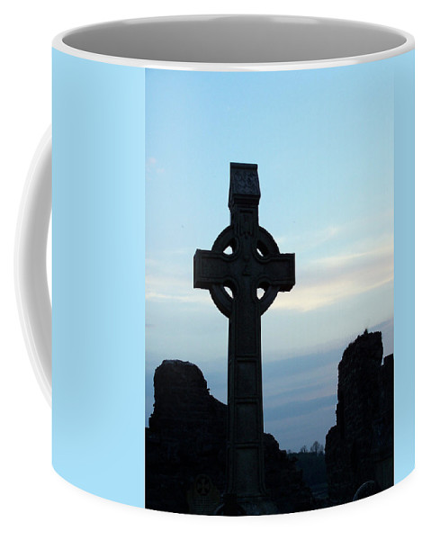 Irish Coffee Mug featuring the photograph Celtic Cross At Sunset Donegal Ireland by Teresa Mucha