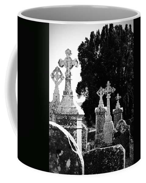 Celtic Coffee Mug featuring the photograph Celtic Crosses At Fuerty Cemetery Roscommon Ireland by Teresa Mucha