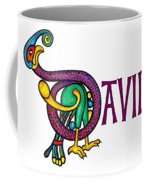Celtic Coffee Mug featuring the painting Decorative Celtic Name David by Frances Gillotti
