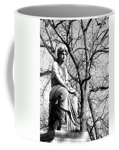 Cemetary Coffee Mug featuring the photograph Cemetary Statue B-w by Anita Burgermeister