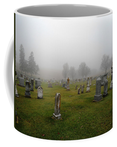 Cemetery Coffee Mug featuring the photograph Cemetery Fog by Lovina Wright