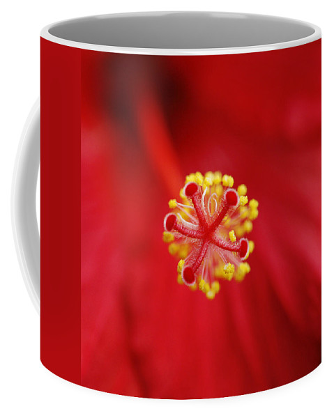 Flower Coffee Mug featuring the photograph Center Of The Hibiscus Universe by Marilyn Hunt