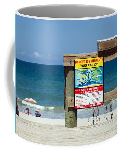 Florida; Beach; Surf; Surfing; Shore; Coast; Sand; Sandy; Waves; Summer; Central; Melbourne; Rip; Cu Coffee Mug featuring the photograph Central Florida Beach Warning by Allan Hughes