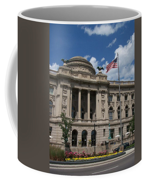 Central Library Coffee Mug featuring the photograph Central Library Milwaukee by Anita Burgermeister