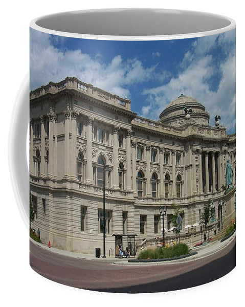 Central Library Coffee Mug featuring the photograph Central Library Milwaukee Full View by Anita Burgermeister
