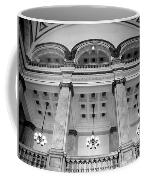 Central Library Coffee Mug featuring the photograph Central Library Milwaukee Interior Bw by Anita Burgermeister