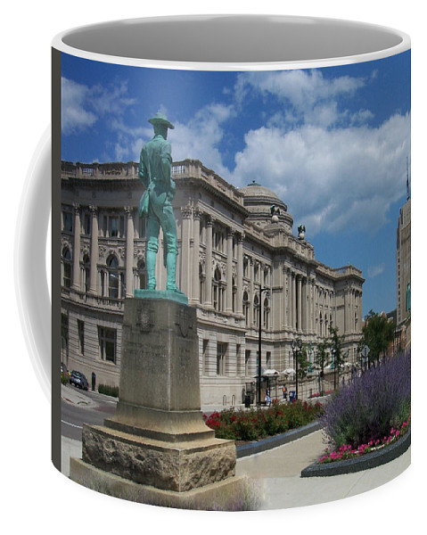 Central Library Coffee Mug featuring the photograph Central Library Milwaukee Street View by Anita Burgermeister