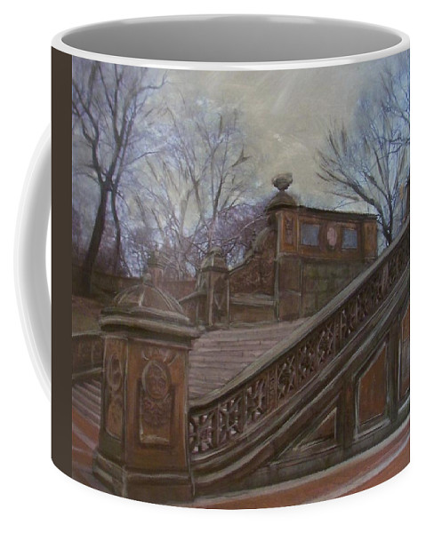 Central Park Coffee Mug featuring the painting Central Park Bethesda Staircase by Anita Burgermeister