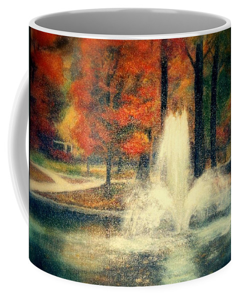 Pond Coffee Mug featuring the painting Central Park In Autumn by Gail Kirtz