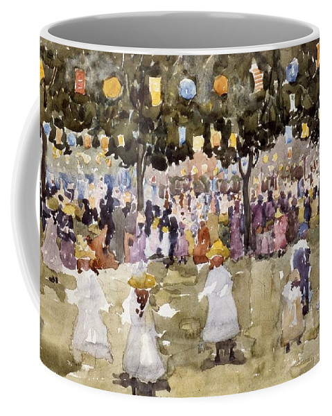 Central Park; Park; New York; Manhattan; Outdoors; Celebration; Summer; Summertime; Seasons; Independence Day; 4th July; Children; Lanterns; Decorations; Festive; Crowd; Crowds; Sketch; Atmospheric Coffee Mug featuring the painting Central Park New York City July Fourth by Maurice Prendergast