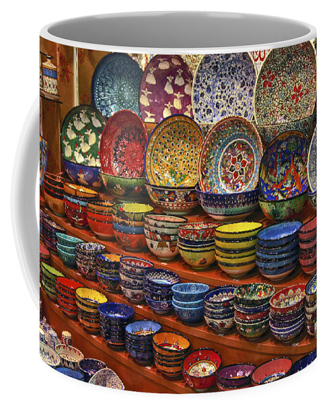 Brightly Colored Patterned Ceramic Displayed Coffee Mug featuring the photograph Ceramic Dishes by Sally Weigand