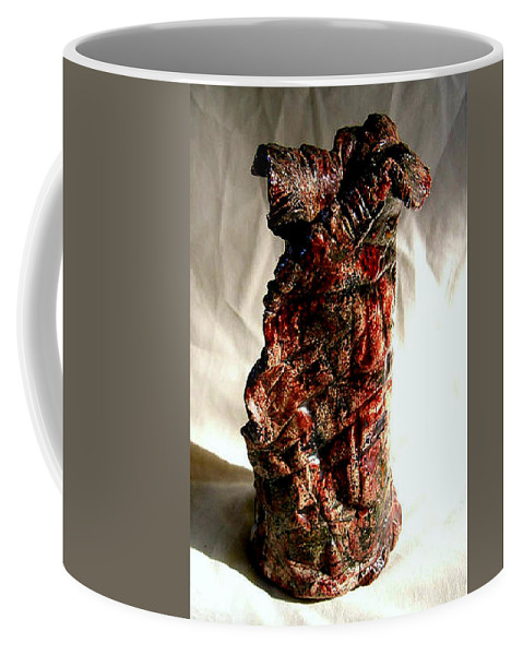 Ceramic Coffee Mug featuring the ceramic art Ceramic Red Vase by Madalena Lobao-Tello