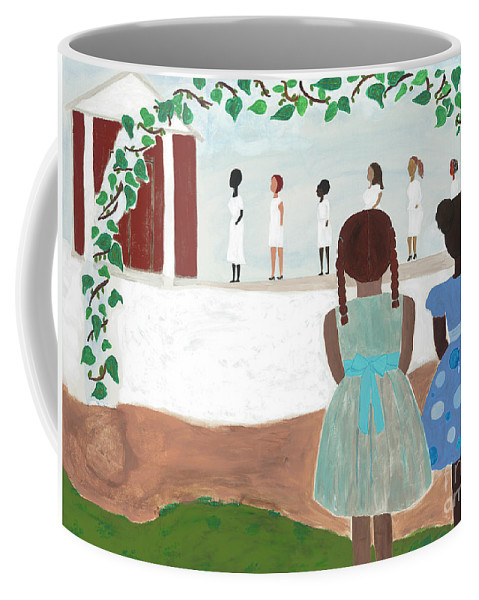 African American Coffee Mug featuring the painting Ceremony in Sisterhood by Kafia Haile