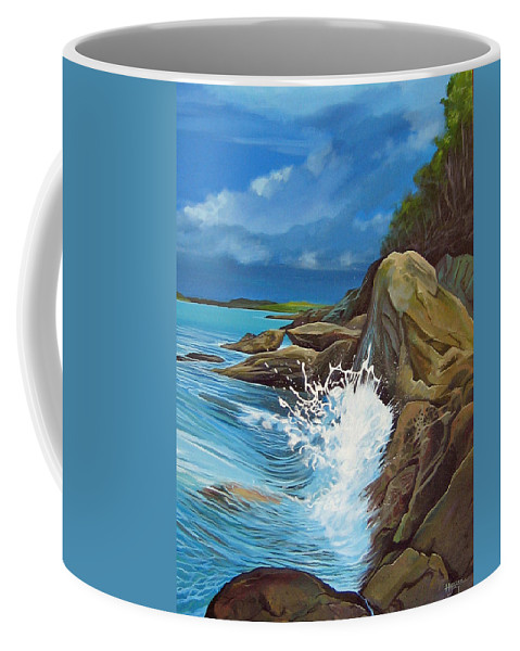Ocean Coffee Mug featuring the painting Cerulean by Hunter Jay