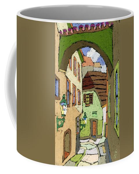 Pastel Coffee Mug featuring the painting Cesky Krumlov Masna Street by Yuriy Shevchuk