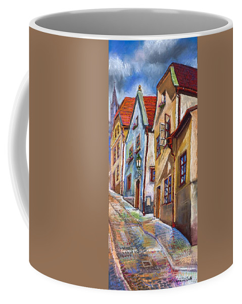 Pastel Chesky Krumlov Old Street Architectur Coffee Mug featuring the painting Cesky Krumlov Old Street 2 by Yuriy Shevchuk