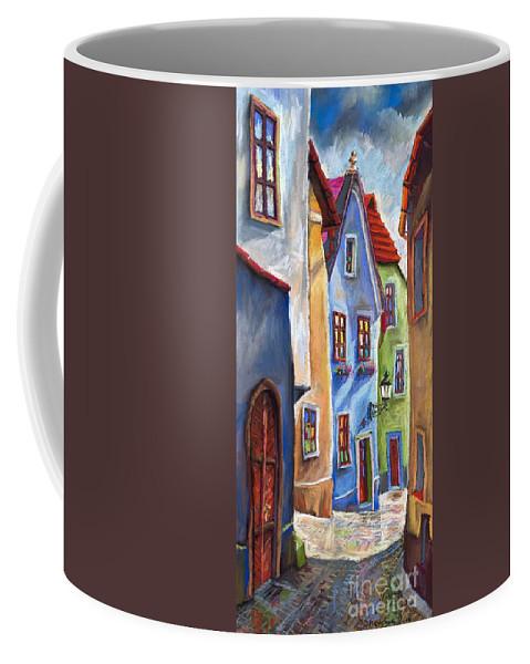 Cityscape Coffee Mug featuring the painting Cesky Krumlov Old Street by Yuriy Shevchuk