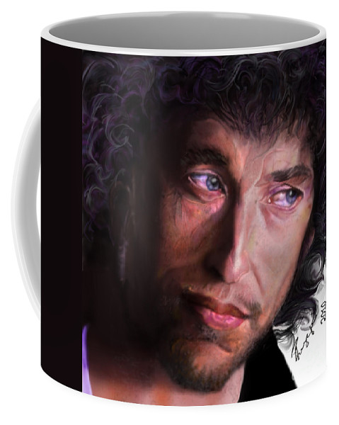 Bob Dylan Coffee Mug featuring the painting Chained To The Sky - Bob Dylan by Reggie Duffie
