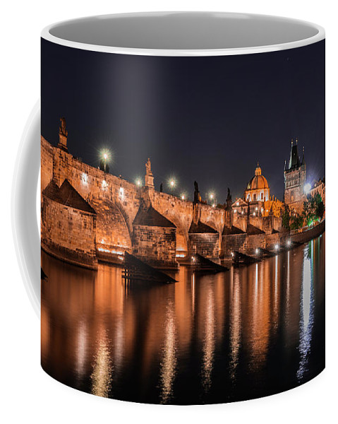 Chains Coffee Mug featuring the photograph Chains Bridge In Prague by Sergio Delle Vedove