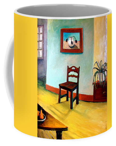 Apartment Coffee Mug featuring the painting Chair and Pears Interior by Michelle Calkins