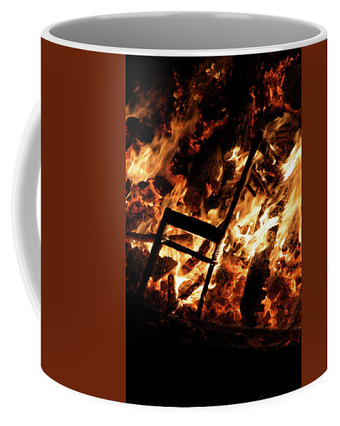 Bonfire Night Coffee Mug featuring the photograph Chair Burning In Guy Fawkes Night Bonfire by Ndp