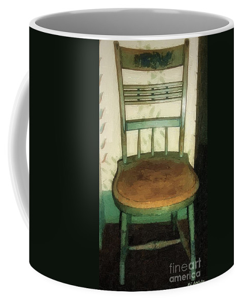 Antique Coffee Mug featuring the painting Chair In Isolated Corner by RC DeWinter