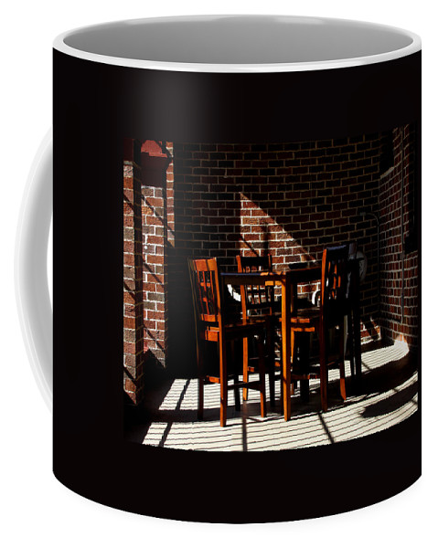 Color Coffee Mug featuring the photograph Chairs And Shadows by Phil Penne