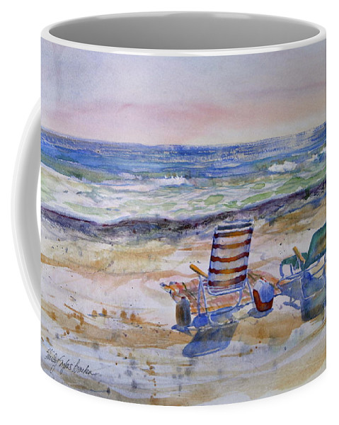 Chairs Coffee Mug featuring the painting Chairs On The Beach by Shirley Sykes Bracken