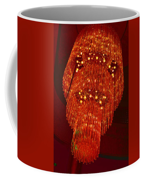 Chandelier Coffee Mug featuring the photograph Chandelier In Red by Timothy Smith