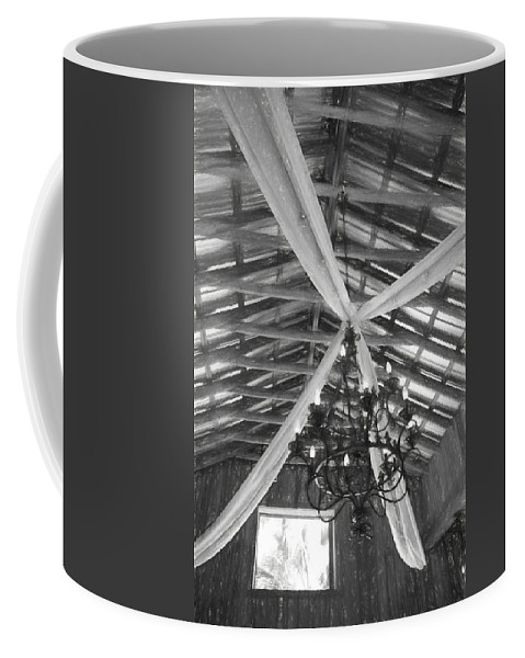 Delamater House Coffee Mug featuring the photograph Chandelier In The Rafters by Alice Gipson