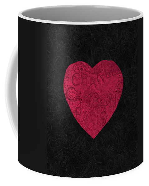 Chanel Coffee Mug featuring the painting Chanel Heart-1 by Three Dots