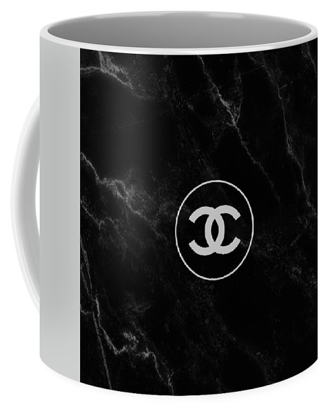 51f8a777404 Chanel Coffee Mug featuring the painting Chanel Logo Black And White,  Marble by Del Art