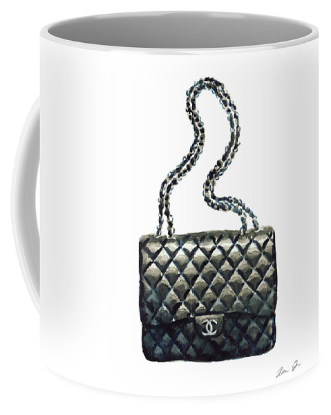 4748a01a7ca0f9 Chanel Handbag Coffee Mug featuring the painting Chanel Quilted Handbag  Classic Watercolor Fashion Illustration Coco Quotes