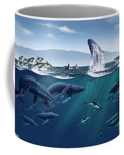 Channel Islands Coffee Mug featuring the photograph Channel Islands Whales by Jim Dowdalls
