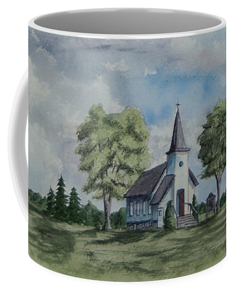 Country Summer Coffee Mug featuring the painting Chapel In Summer by Charlotte Blanchard