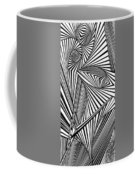 Dynamic Black And White Coffee Mug featuring the painting Chapel Reflections by Douglas Christian Larsen